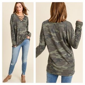 Tops - Camo Army Green Ribbed Criss Cross Long Sleeve Top